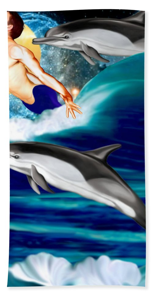 Dolphins Hand Towel featuring the mixed media Swimming With Dolphins by Anthony Seeker