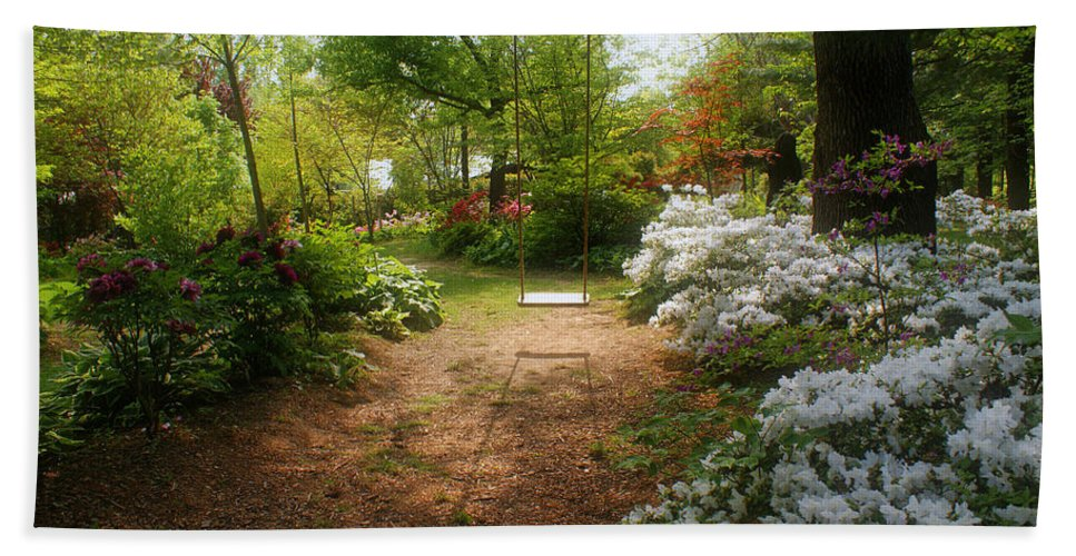 Swing Bath Sheet featuring the photograph Swing In The Garden by Sandy Keeton