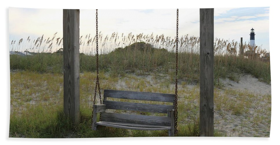 Beach Hand Towel featuring the photograph Swing On The Beach by Carol Groenen