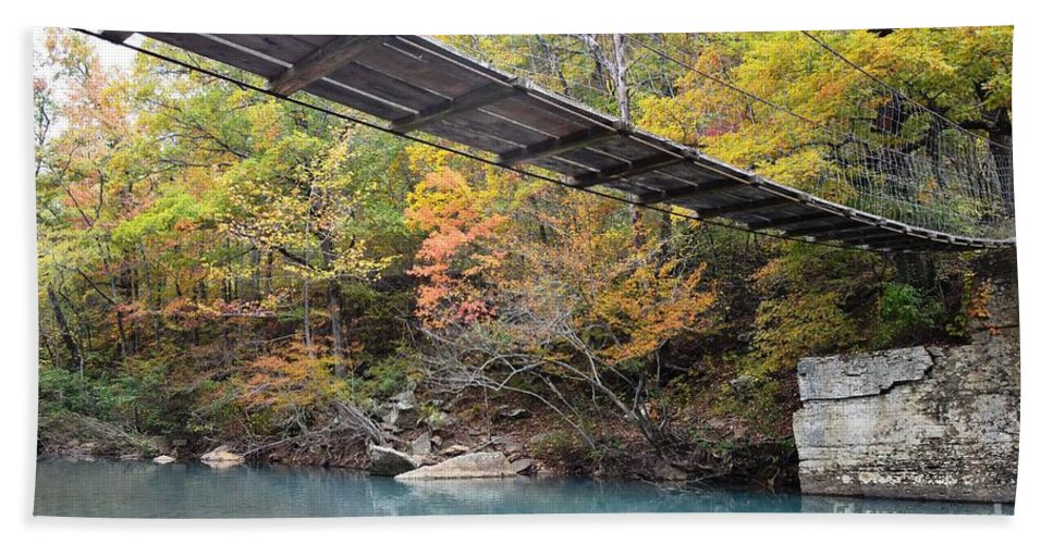 Bridge Hand Towel featuring the photograph Swinging Bridge by Deanna Cagle