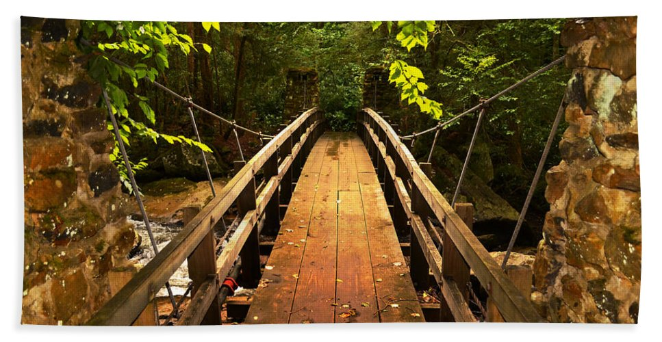Glade Creek Grist Mill Hand Towel featuring the photograph Swinging Bridge by Lj Lambert