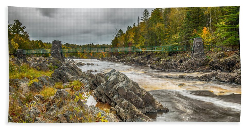 Jay Cooke State Park Swinging Bridge Bath Sheet featuring the photograph Swinging Bridge by Paul Freidlund