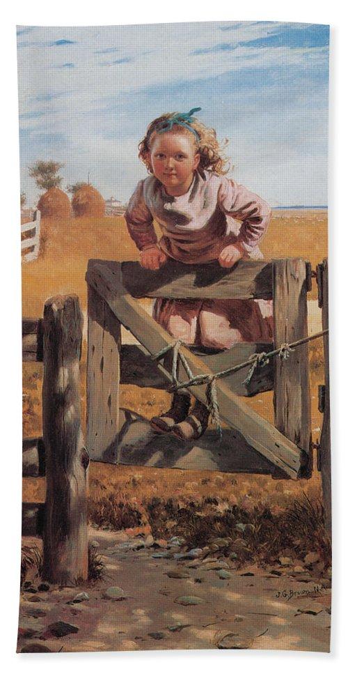 John Brown Bath Sheet featuring the digital art Swinging On A Gate by John Brown