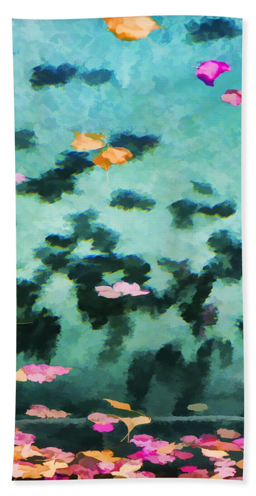 Swimming Pool Hand Towel featuring the photograph Swirling Leaves And Petals 2 by Scott Campbell