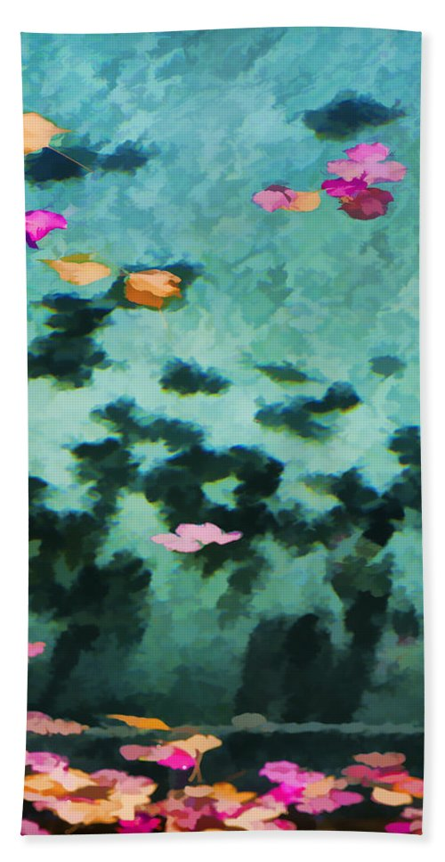 Swimming Pool Hand Towel featuring the photograph Swirling Leaves And Petals 4 by Scott Campbell