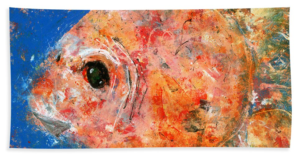 Fish Bath Sheet featuring the painting Swishy Fishy by Rebecca Zdybel