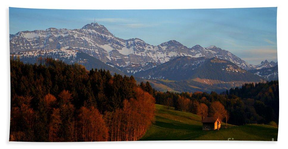 Switzerland Bath Sheet featuring the photograph Swiss Alpine Scene by Susanne Van Hulst