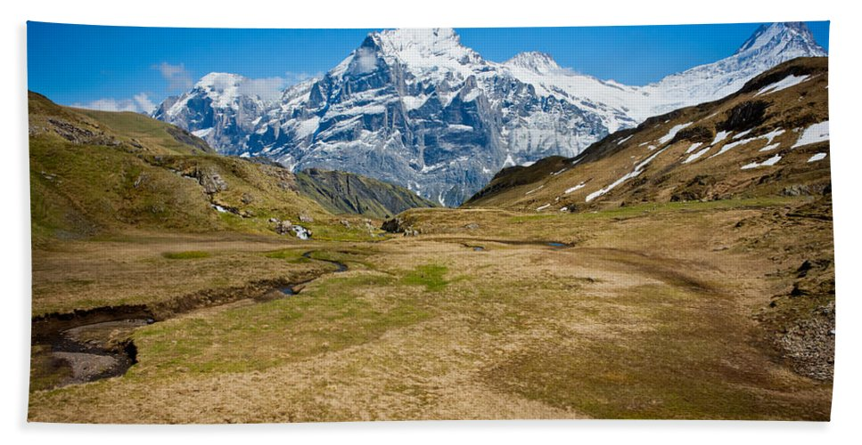 Alps Hand Towel featuring the photograph Swiss Alps - Schreckhorn And Valley by Anthony Doudt