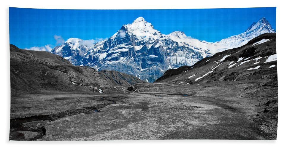 Alps Hand Towel featuring the photograph Swiss Alps - Schreckhorn And Valley In Black And White by Anthony Doudt
