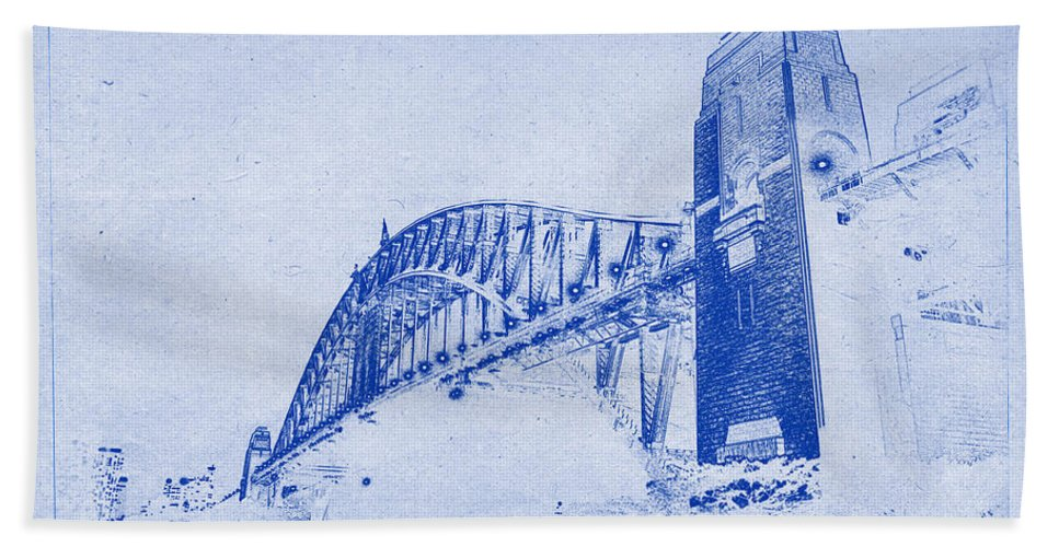 Sydney harbour bridge blueprint bath towel for sale by sydney harbour bridge bath towel featuring the photograph sydney harbour bridge blueprint by kaleidoscopik photography malvernweather Gallery