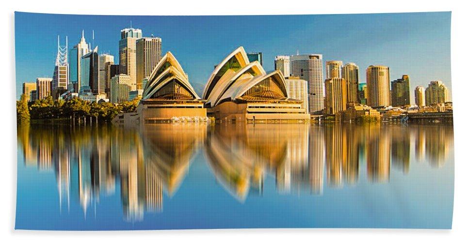 City Hand Towel featuring the digital art Sydney Skyline With Reflection by Algirdas Lukas
