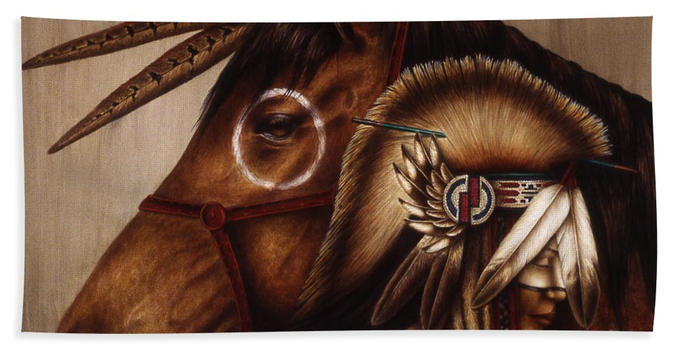 Native American Bath Sheet featuring the painting Symbionts by Pat Erickson