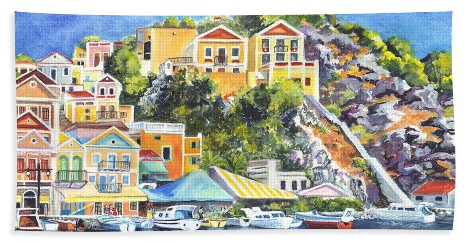 Harbor Hand Towel featuring the painting Symi Harbor The Grecian Isle by Carol Wisniewski