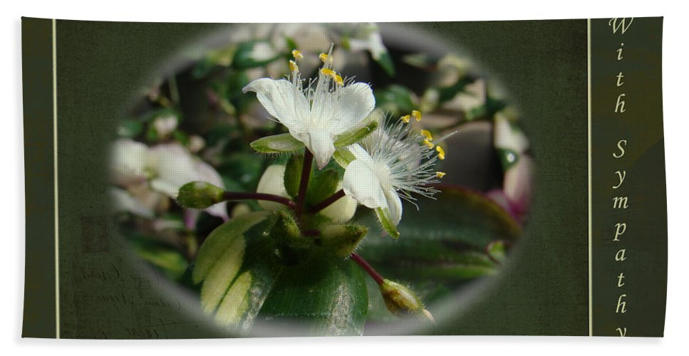 Sympathy Bath Sheet featuring the photograph Sympathy Greeting Card - Elegant Floral Green And White by Mother Nature