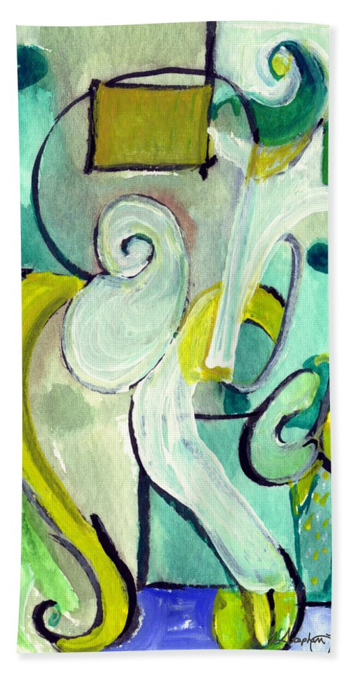Abstract Art Bath Sheet featuring the painting Symphony In Green by Stephen Lucas