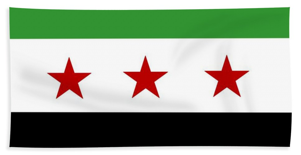 Syria Hand Towel featuring the digital art Syria Republic Flag by Frederick Holiday