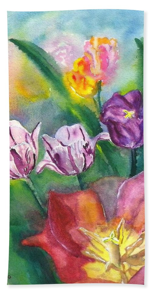 Tulip Bath Sheet featuring the painting Spring Tulips by Anna Ruzsan