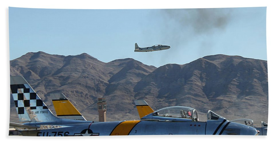 T33 Bath Sheet featuring the photograph T-33 Shooting Star Flight Over Two Sabre's by Carl Deaville