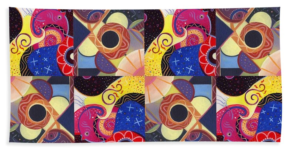 Abstract Hand Towel featuring the painting T J O D Tile Variations 14 by Helena Tiainen