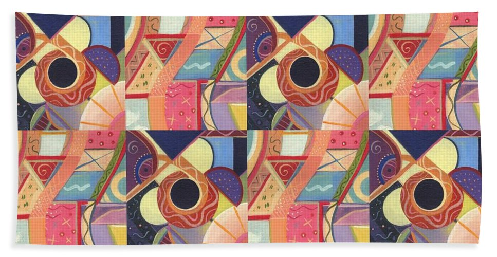 Abstract Hand Towel featuring the painting T J O D Tile Variations 19 by Helena Tiainen