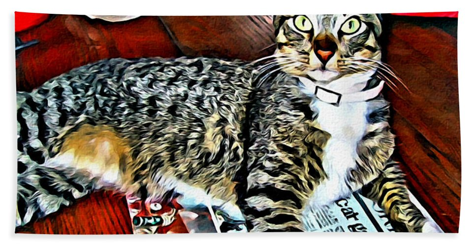 Tabby Cat On Newspaper Hand Towel featuring the photograph Tabby Cat On Newspaper - Catching Up On The News by Rebecca Korpita
