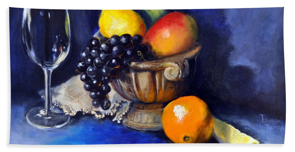 Fruit Hand Towel featuring the painting Table For One by Pamela Bergen