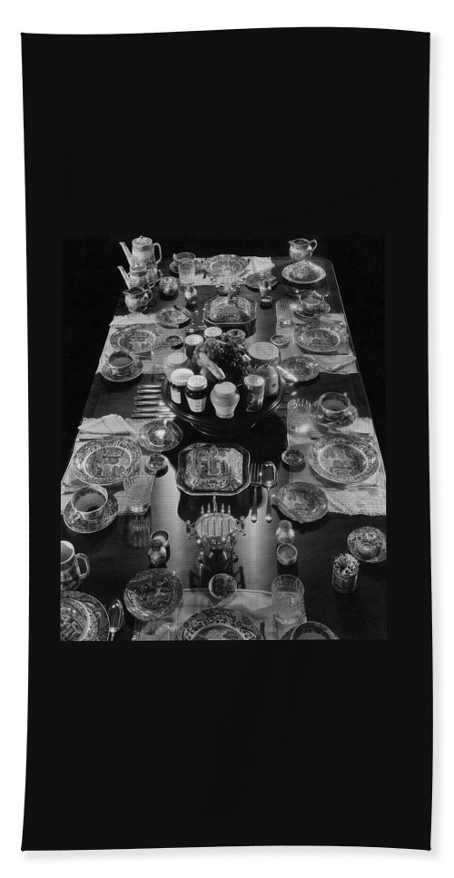 Interior Bath Towel featuring the photograph Table Settings On Dining Table by The 3