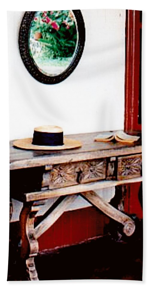 Architecture Hand Towel featuring the photograph Table With Hat And Book by Glenn Aker