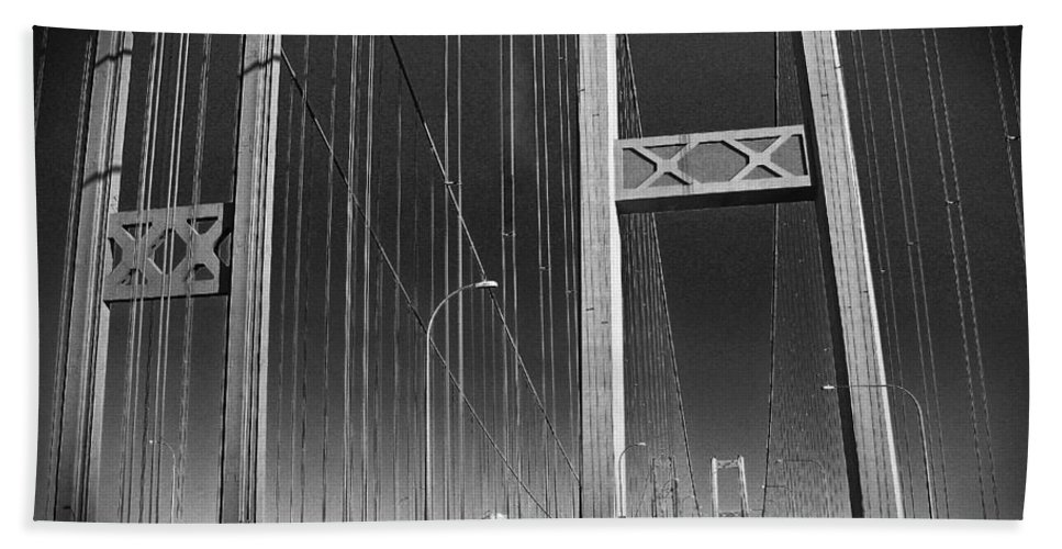 Tacoma Narrows Bridge Hand Towel featuring the photograph Tacoma Narrows Bridge B W by Connie Fox