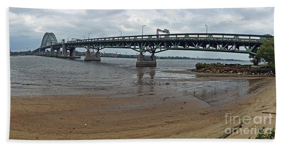 Connecting Hand Towel featuring the photograph Tacony Palmyra Bridge by Tom Gari Gallery-Three-Photography