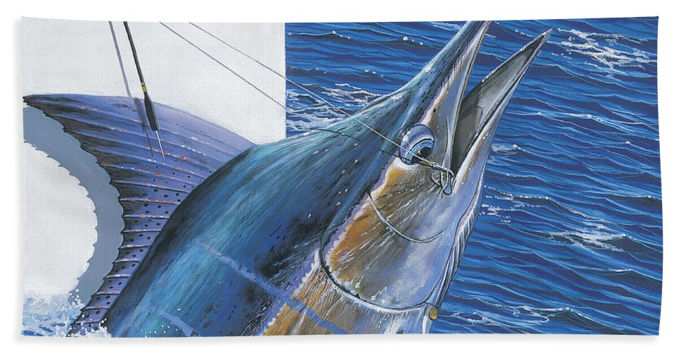 Marlin Bath Sheet featuring the painting Tagged Off00105 by Carey Chen
