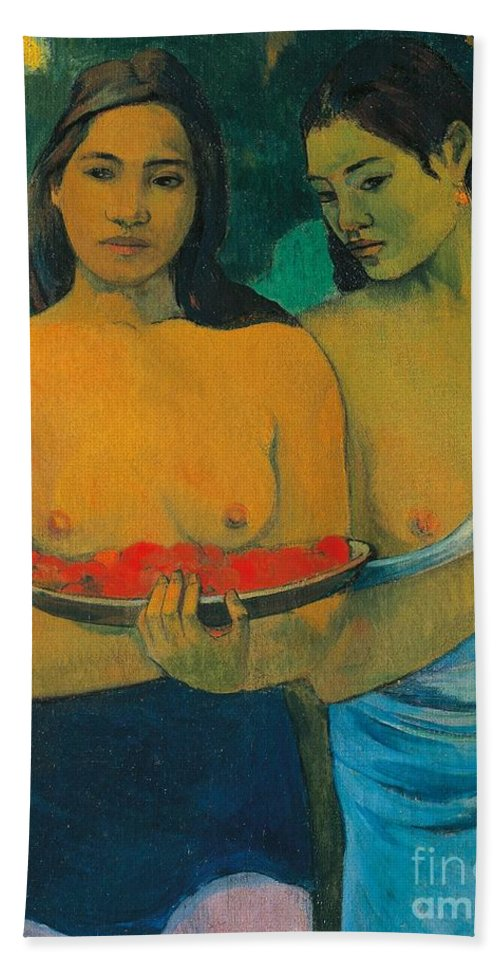 Painting; 19th Century Painting; Gauguin Paul; Impressionism Bath Sheet featuring the painting Tahiti Two Tahitian Women by Paul Gauguin