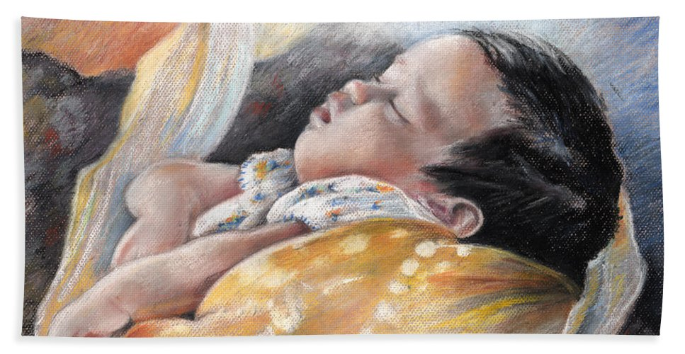 Travel Bath Sheet featuring the painting Tahitian Baby by Miki De Goodaboom