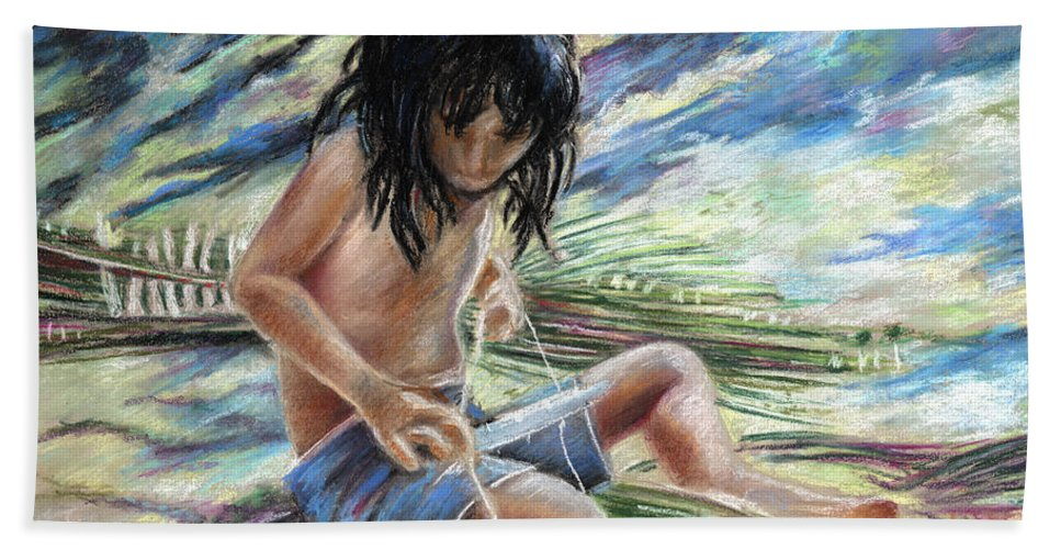 Travel Bath Sheet featuring the painting Tahitian Boy With Knife by Miki De Goodaboom