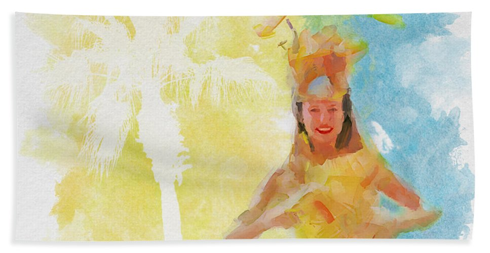 Tahiti Hand Towel featuring the painting Tahitian Dancer by Greg Collins