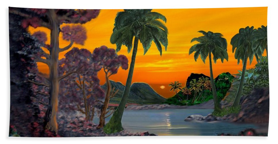 Tahitian Sunset Hand Towel featuring the digital art Tahitian Sunset by Glenn Holbrook