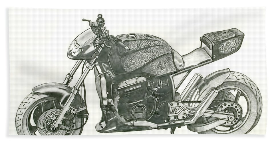 Biker Bath Sheet featuring the drawing Tail In The Air by Stephen Brooks
