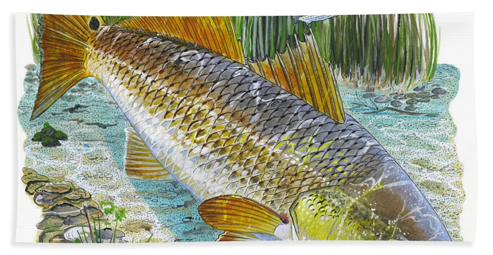 Redfish Bath Sheet featuring the painting Tailing Red by Carey Chen