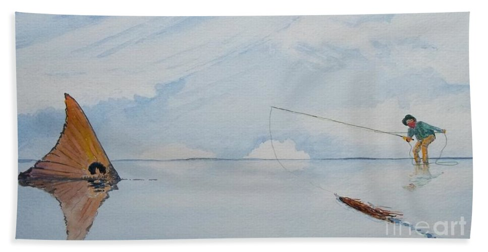 Scenic Landscape Bath Sheet featuring the painting Tailing Redfish by Don Hand