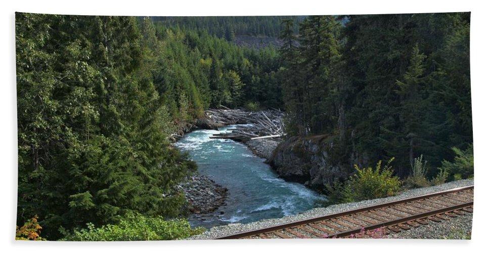 Cheakamus River Hand Towel featuring the photograph Train Tracks By The Cheakamus River by Adam Jewell