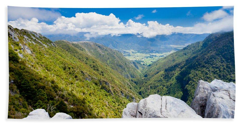 South Island Bath Sheet featuring the photograph Takaka Hill Limestone Outcrops Takaka Valley In Nz by Stephan Pietzko