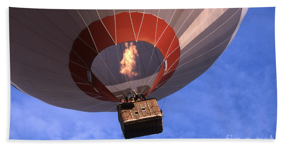 Hot_air_ballon Hand Towel featuring the photograph Take Off by Heiko Koehrer-Wagner