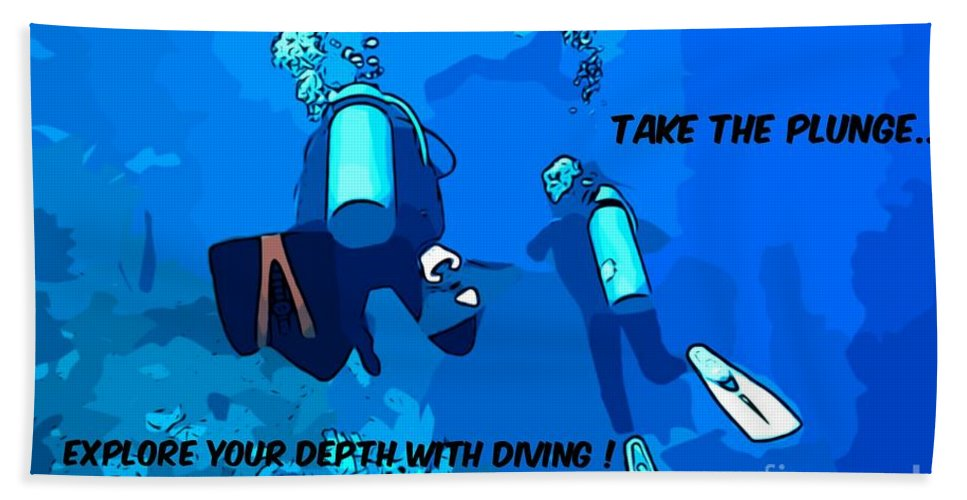 Scuba Diving Bath Sheet featuring the photograph Take The Plunge by John Malone