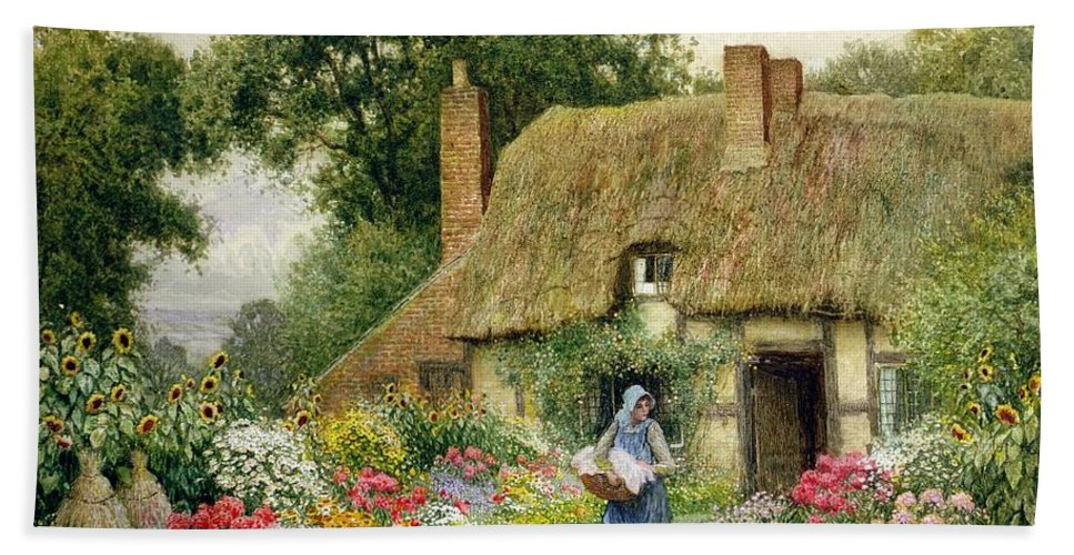 Thatch Hand Towel featuring the drawing Taking Out The Washing by Arthur Claude Strachan