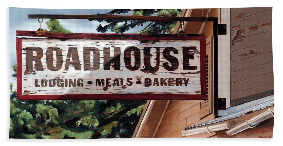 Landscape Hand Towel featuring the painting Talkeetna Roadhouse by Craig Morris