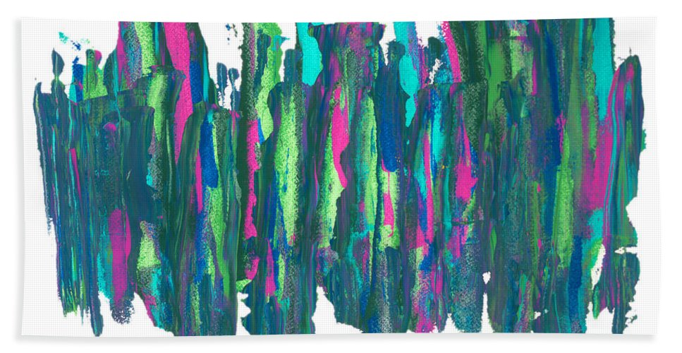Abstract Hand Towel featuring the painting Talking Walking by Bjorn Sjogren