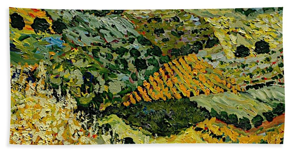 Landscape Hand Towel featuring the painting Tall Grass by Allan P Friedlander