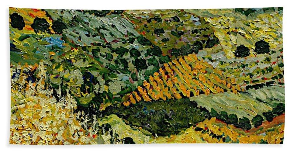 Landscape Bath Sheet featuring the painting Tall Grass by Allan P Friedlander
