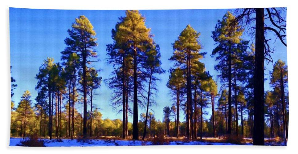 Ponderosa Pine Bath Sheet featuring the painting Tall Ponderosa Pine by Jim Buchanan