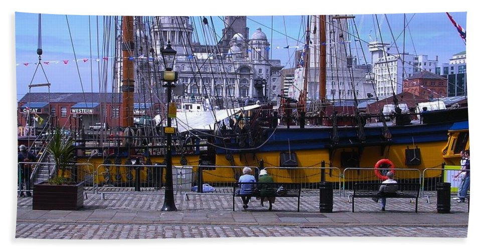 Tall Ships Hand Towel featuring the photograph Tall Ship At Albert Dock by Joan-Violet Stretch
